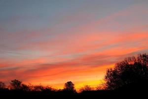 Red sky at night silhouette - sunset, Escomb, North East