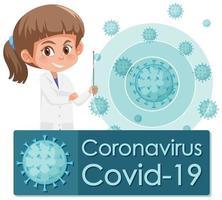 cartel de coronavirus con médico y célula de virus