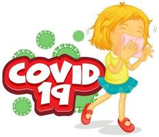 Font design for word covid 19 with sick girl