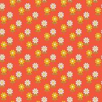Retro stylized daisy seamless pattern vector