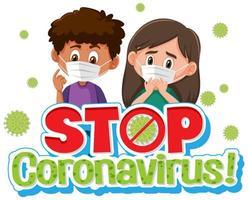 Coronavirus poster design with sick children and word stop coronavirus vector
