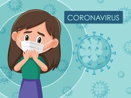 diagrama de coronavirus con niña vector