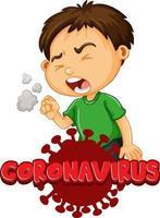 Coronavirus with boy coughing vector