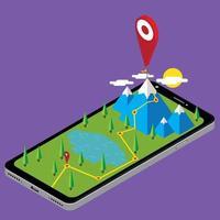 ruta isométrica del paisaje móvil