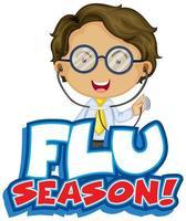 Flu season with happy doctor vector