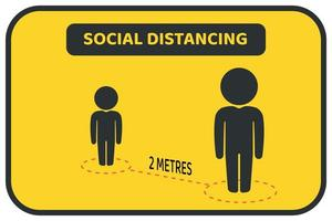 cartaz social amarelo, preto do distanciamento vetor