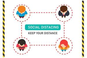 Vista superior del distanciamiento social de las personas vector
