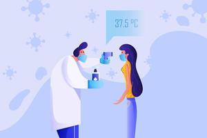 médico triagem paciente para sintomas de vírus vetor