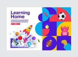 Vibrant Learning Home Education Banner Template vector
