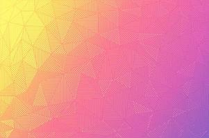 Vibrant color gradient triangles with lines and dots vector