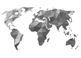 Geometric earth map made by parallel lines and dots vector