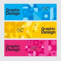 Blue, Yellow and Pink Geometric Graphic Design Banners