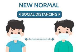 distanciamiento social entre dos personas vector