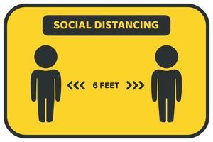 cartel de distanciamiento social amarillo y negro para proteger del virus vector