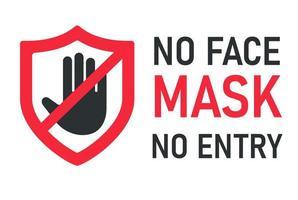 pas de masque facial, pas de message d'avertissement d'entrée