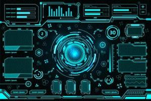 Blue futuristic control panel design vector