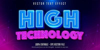 effet de texte modifiable de style néon de haute technologie