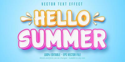 hola verano efecto de texto de contorno naranja y rosa