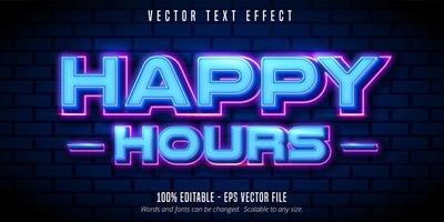 Happy hours neon style text effect vector