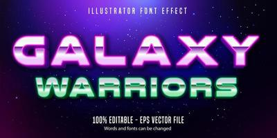 Galaxy warriors chrome neon style text effect
