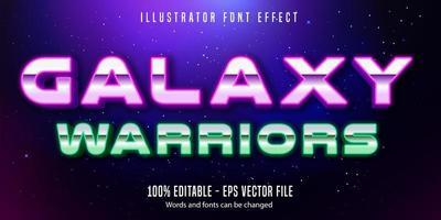 efeito de texto de estilo neon neon de guerreiros galáxia vetor