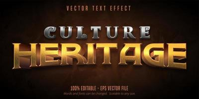 Culture heritage metallic textured game style text effect