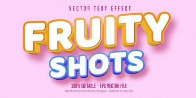 Fruity shots 3d pastry style font effect vector