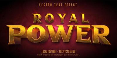 Royal power golden textured text effect vector