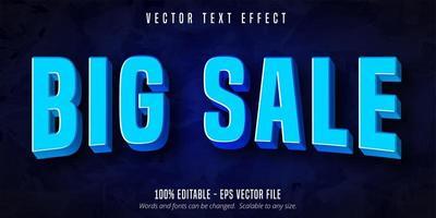 efecto de texto editable azul curvo gran venta vector