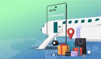 concept de magasinage en ligne avec avion