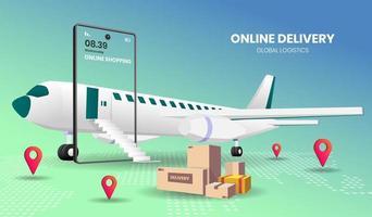 concept d'expédition en ligne avec avion