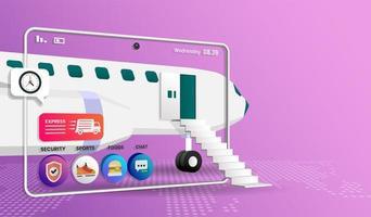 concept de magasinage en ligne avec avion et icônes