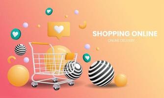 Online-Shopping-Landingpage mit Warenkorb und Bällen