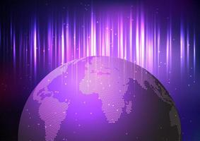 Tech style globe and glowing purple lights vector