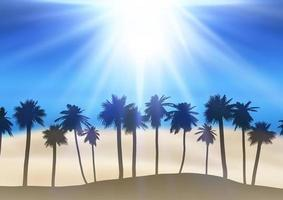 Summer landscape with palm tree silhouettes vector