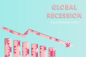 gráfico de recessão da economia global com padrão de coronavírus vetor
