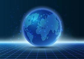 Modern techno globe on grid design vector