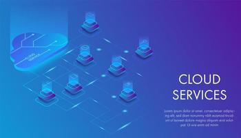 Isometric cloud services technology concept