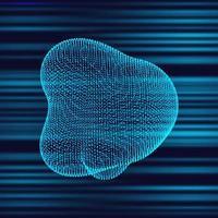 Blue tech style random fluid dot shape