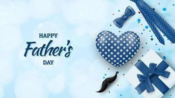 Father's Day design with present, tie, mustache on bokeh vector