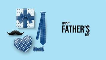 Father's Day design with present, tie, mustache on blue vector