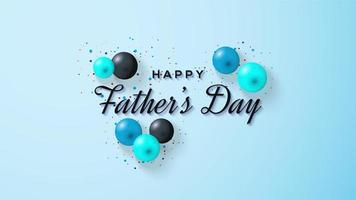 Father's Day design with blue and black balloons