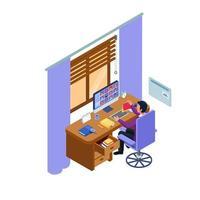 Student in interactive online class meeting vector