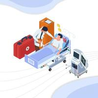 Doctor touching patient in hospital bed vector