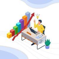 Man at desk on laptop having a business idea vector