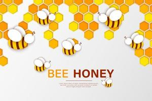 Paper cut style bee and honeycomb design vector