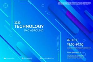 Modern blue dynamic shape conference flyer layout vector