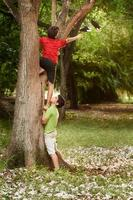 Two children helping and climbing on tree in park photo
