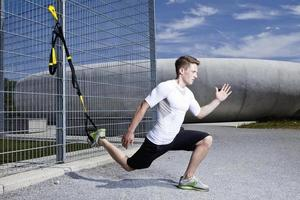 Man working out in industrial area