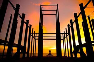 Stock Photo - silhouette of construction site
